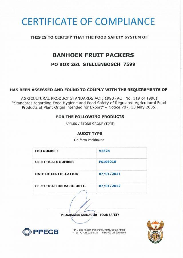 Packing - Banhoek Fruit Packers - Certificate